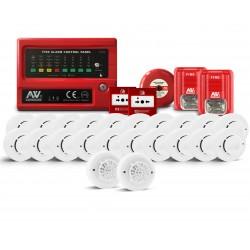 Kit Sistema Incendio Convencional 4 zonas  ASENWARE AWK-CFP2166-4